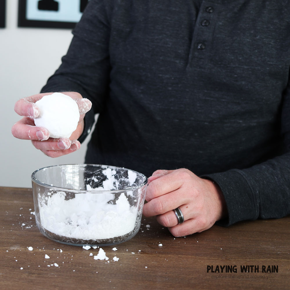 Make a snowball with your instant snow!