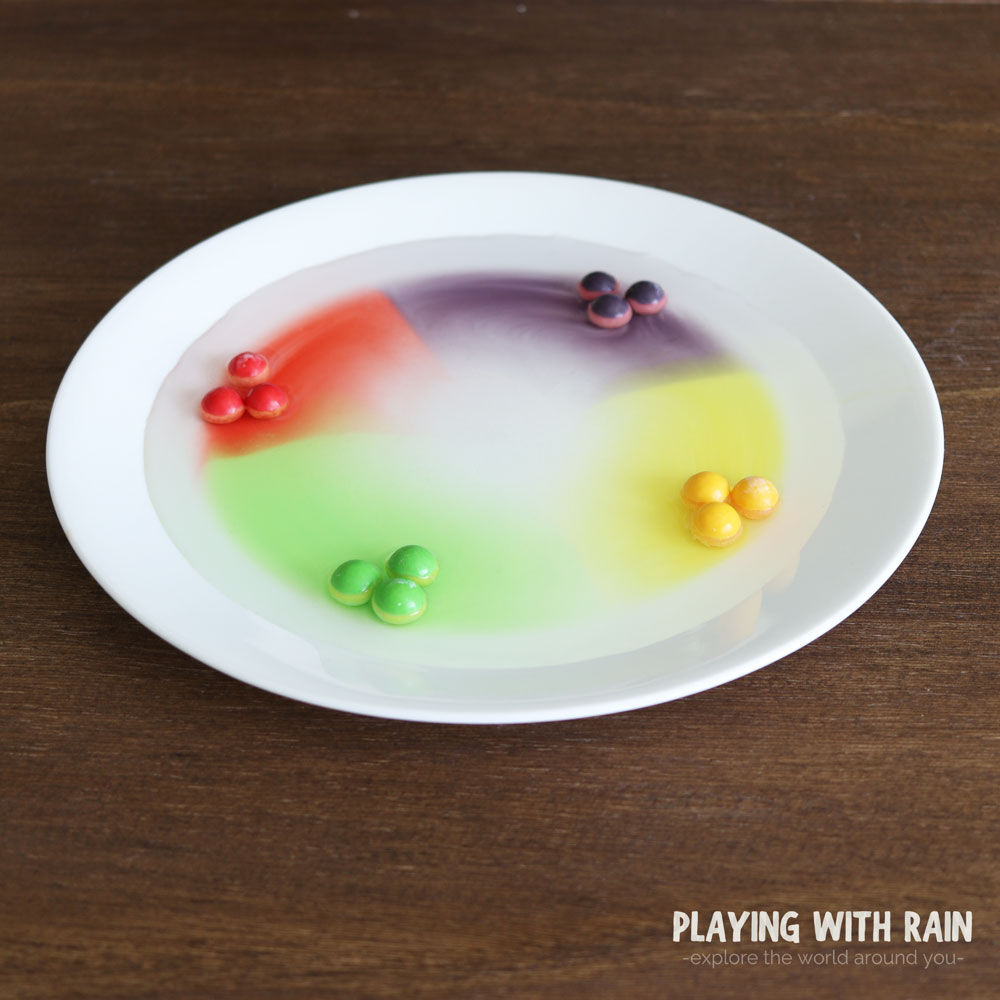 Gobstopper candies mixed with water on a plate