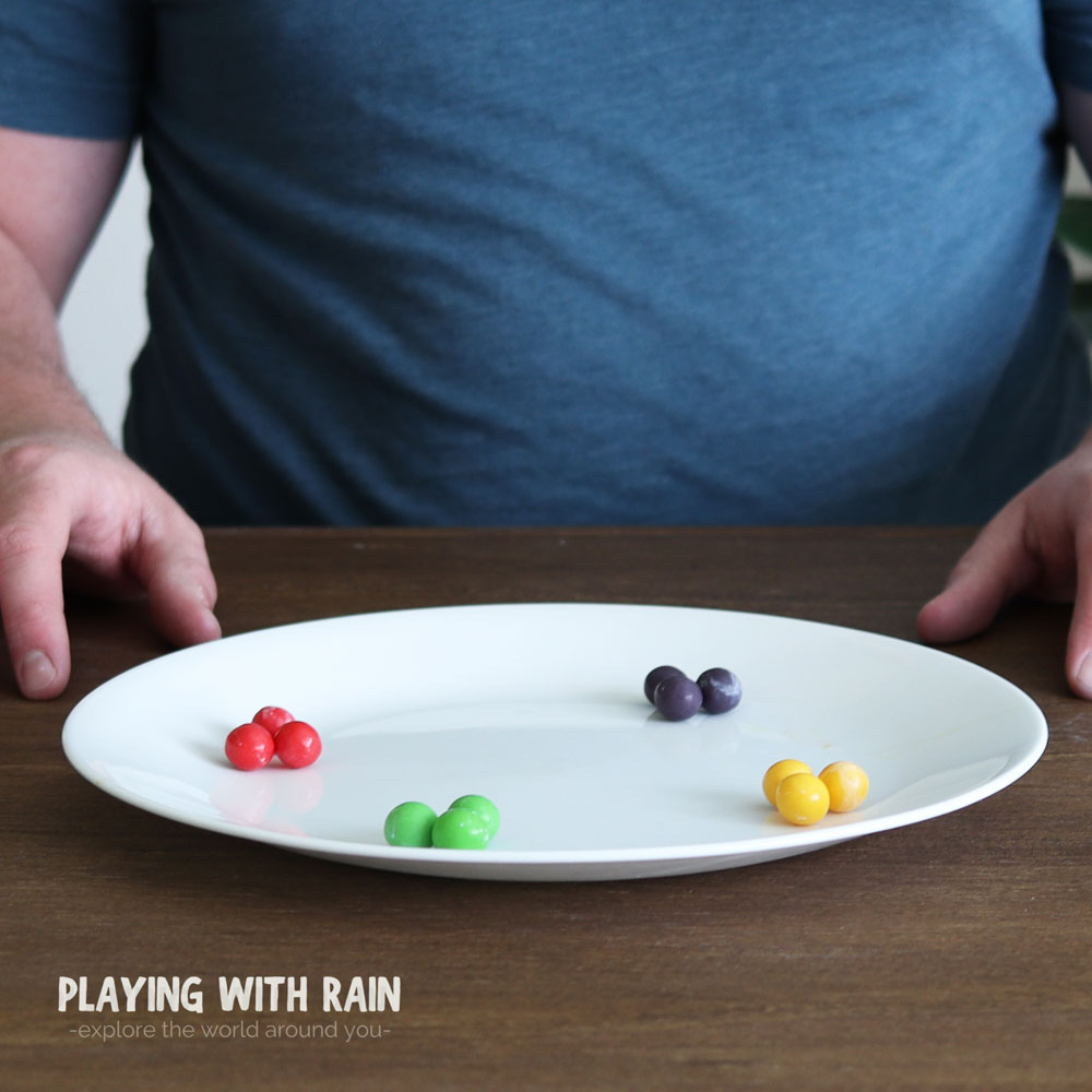 Gobstoppers grouped together by colors on a plate