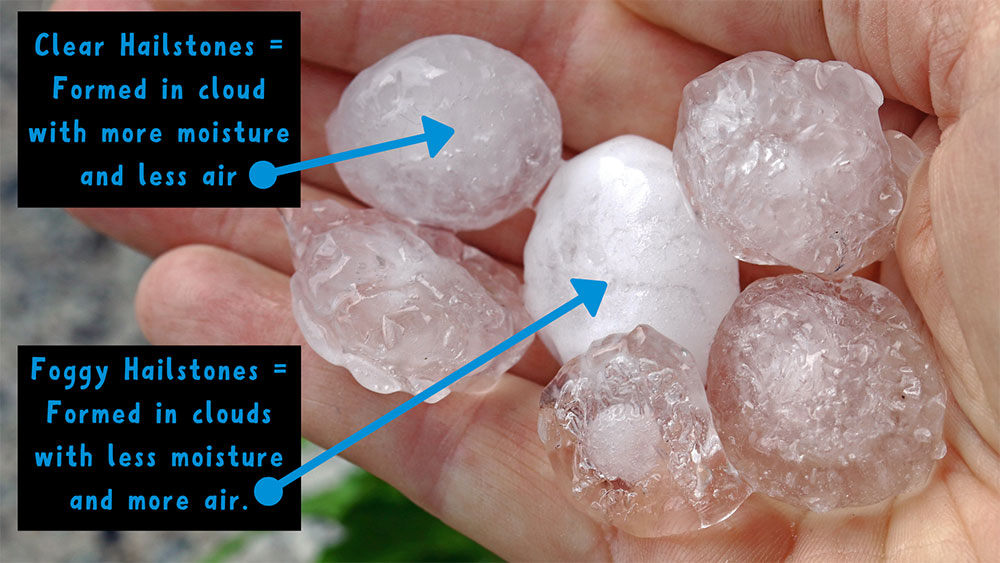 Hailstones can be clear, or foggy