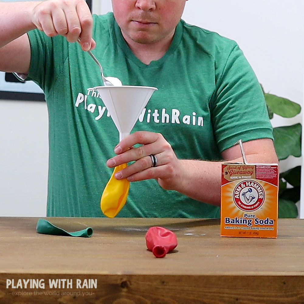 Pour baking soda into a balloon with a funnel