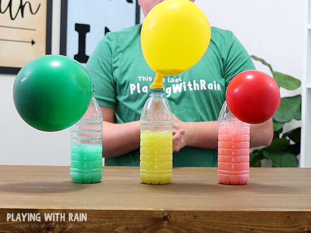 Baking soda and vinegar in a plastic bottle inflating balloon