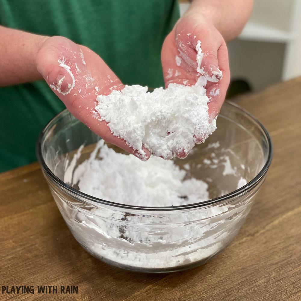 Baking soda and shaving cream snow powder