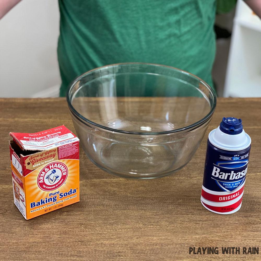 Make snow with baking soda and shaving cream