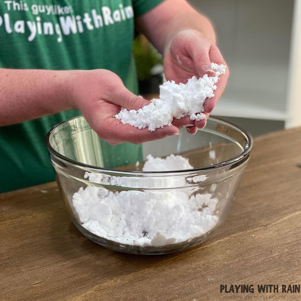 Baking soda and water snow powder