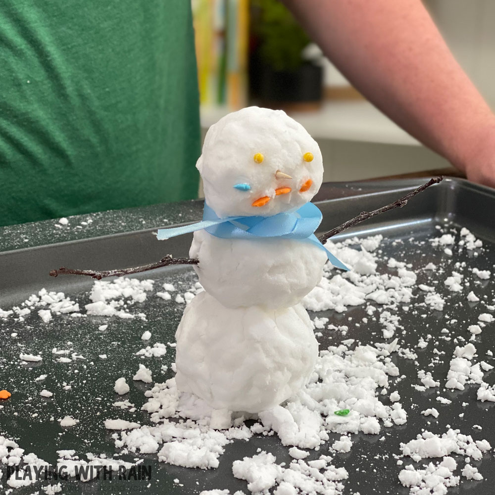 Baking soda and water snowman