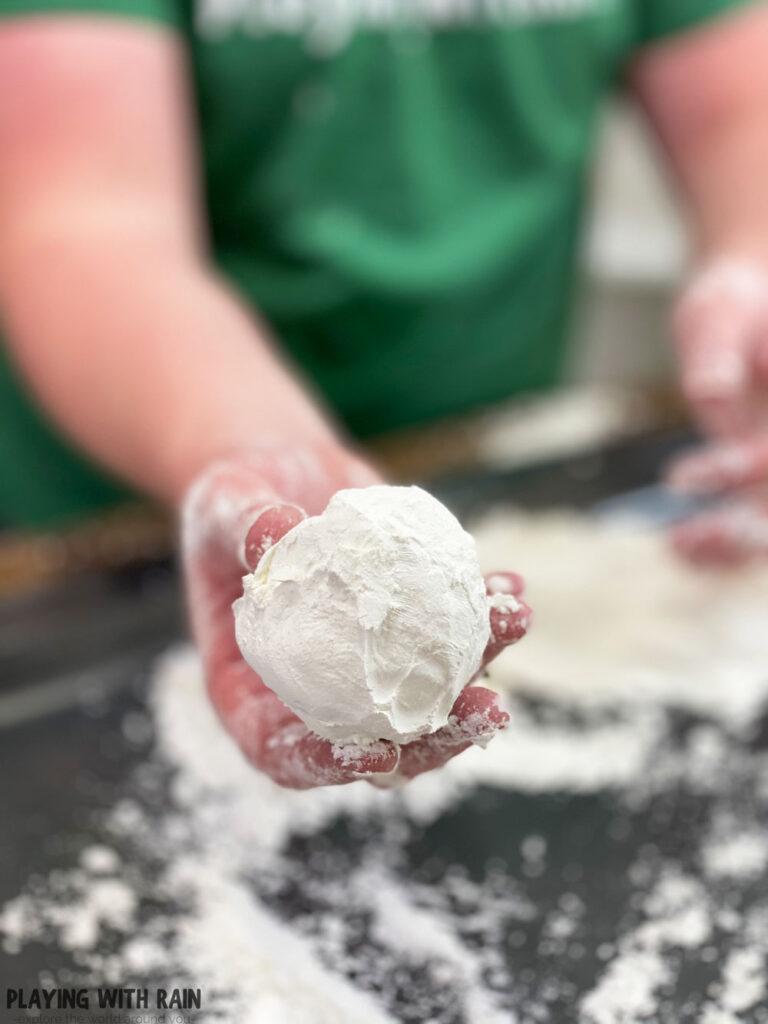 Shaving cream and corn starch snowball