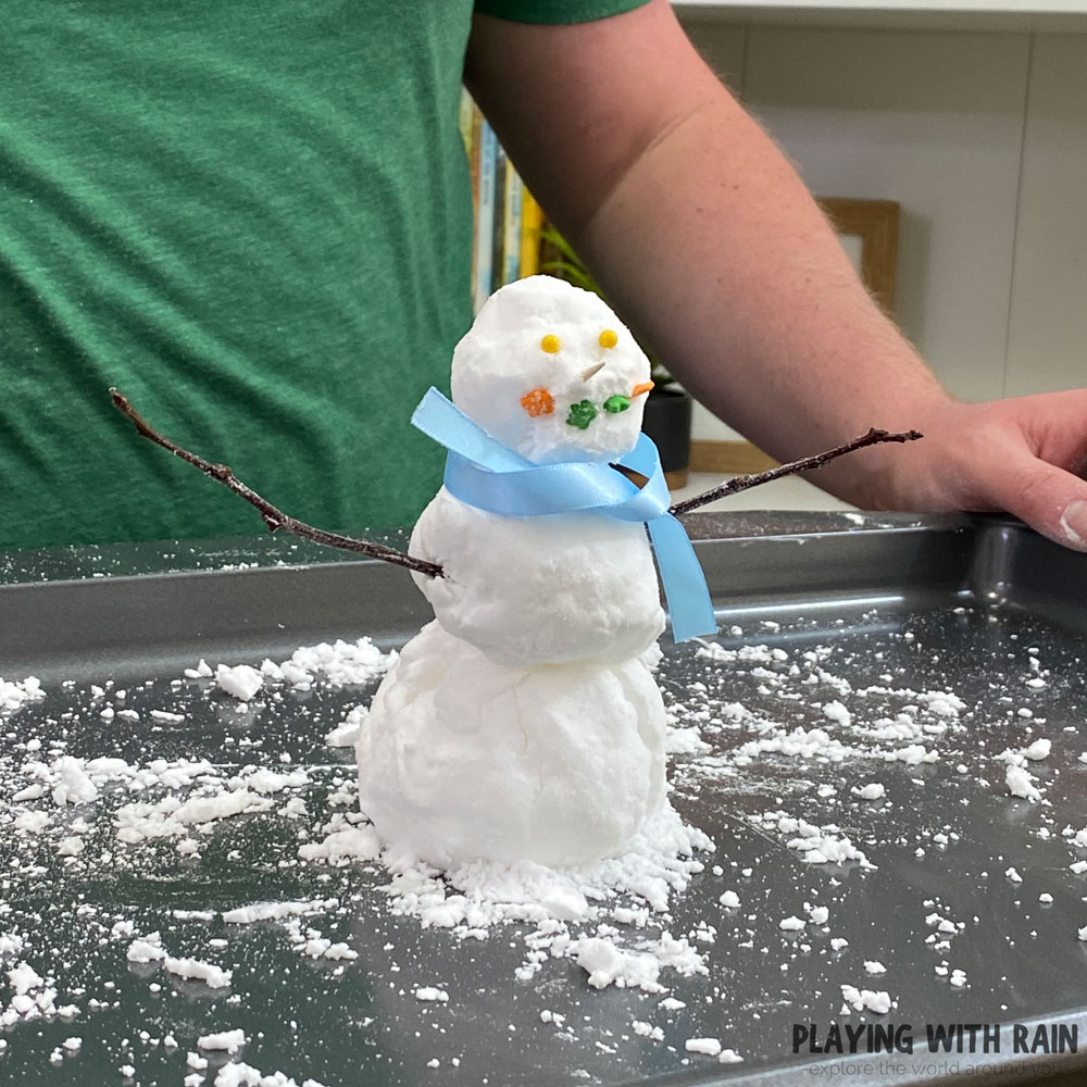 Snowman made from baking soda and conditioner