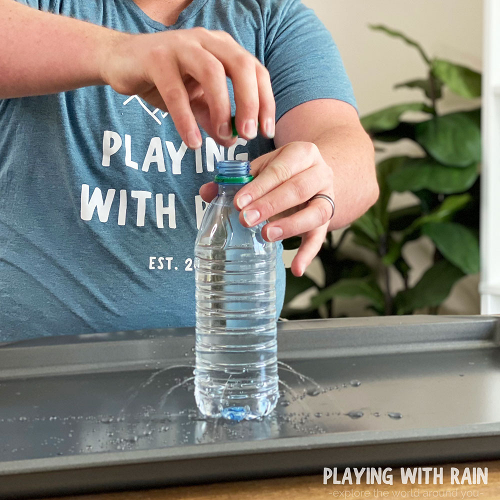 Watch the water spray out of the holes