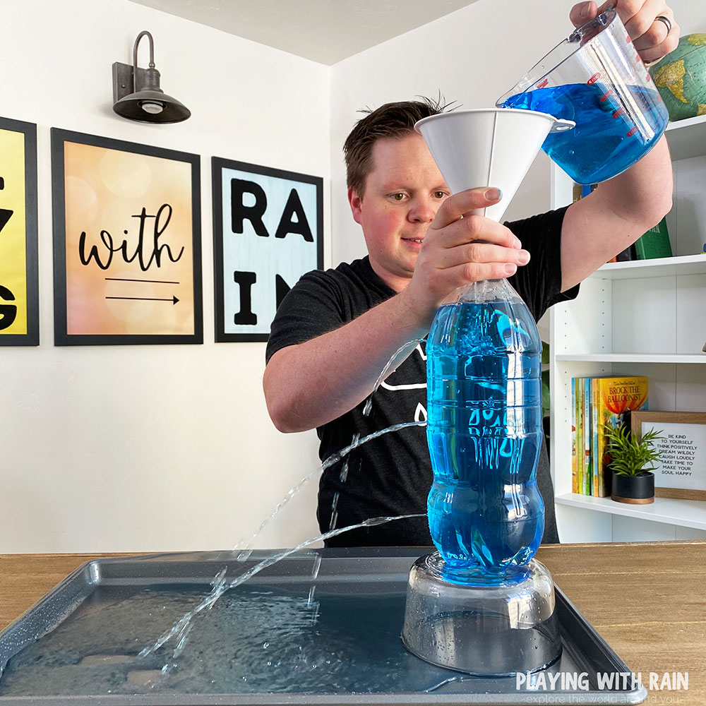 Water pressure with water bottle experiment