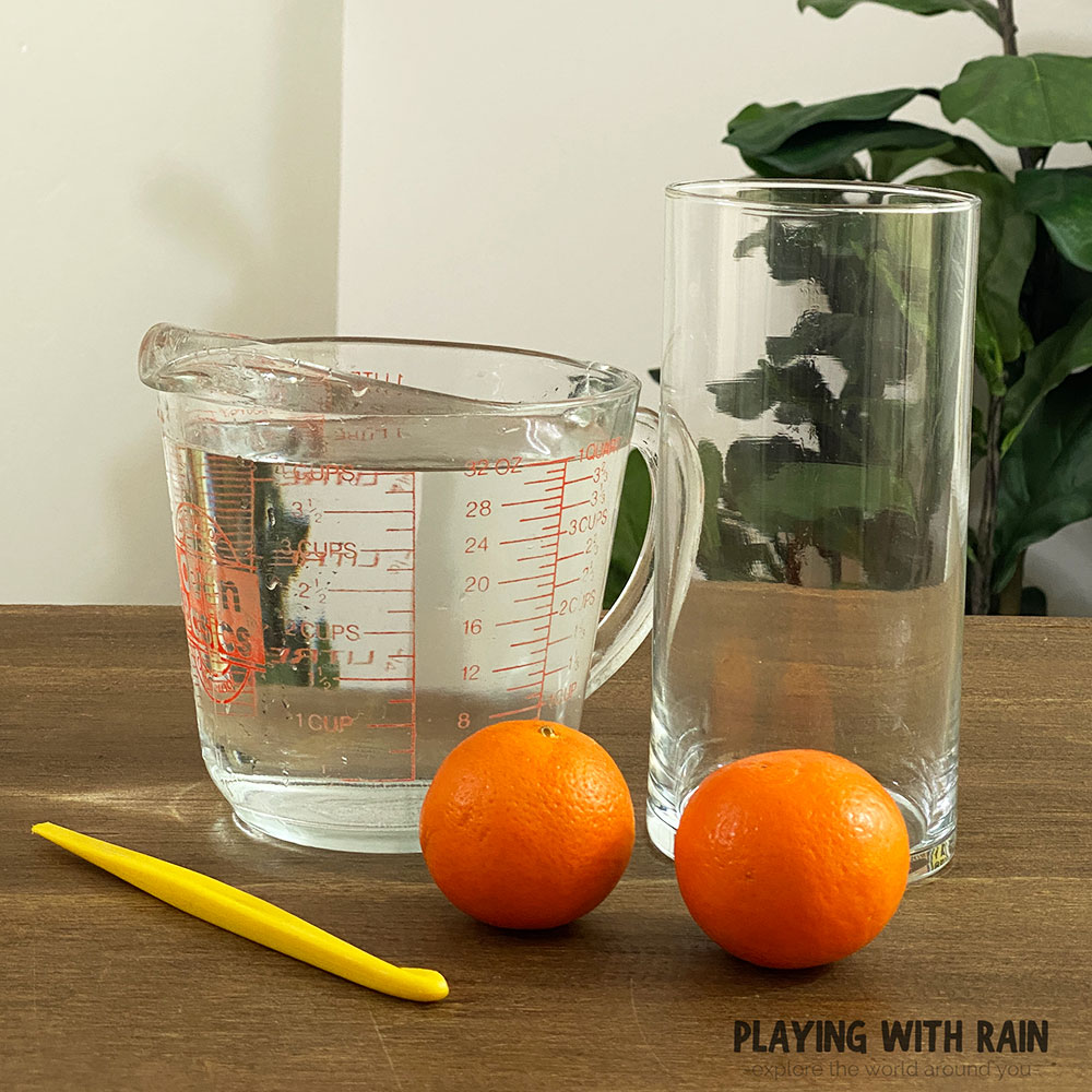 Materials needed to make oranges float