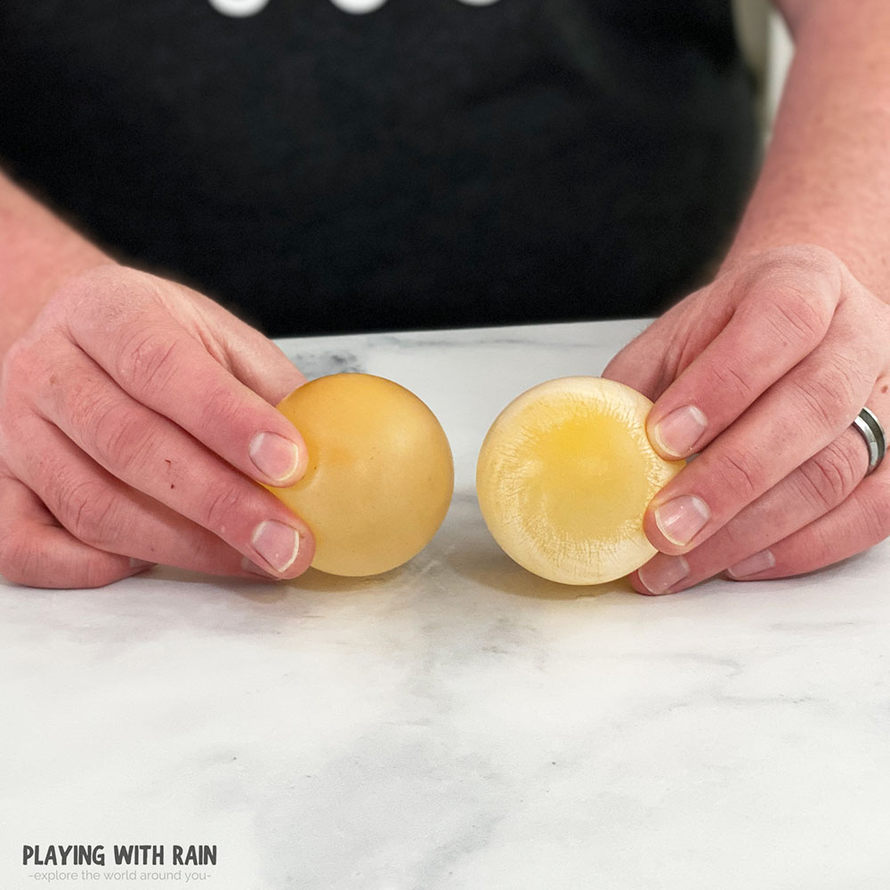 Bounce and squeeze the eggs