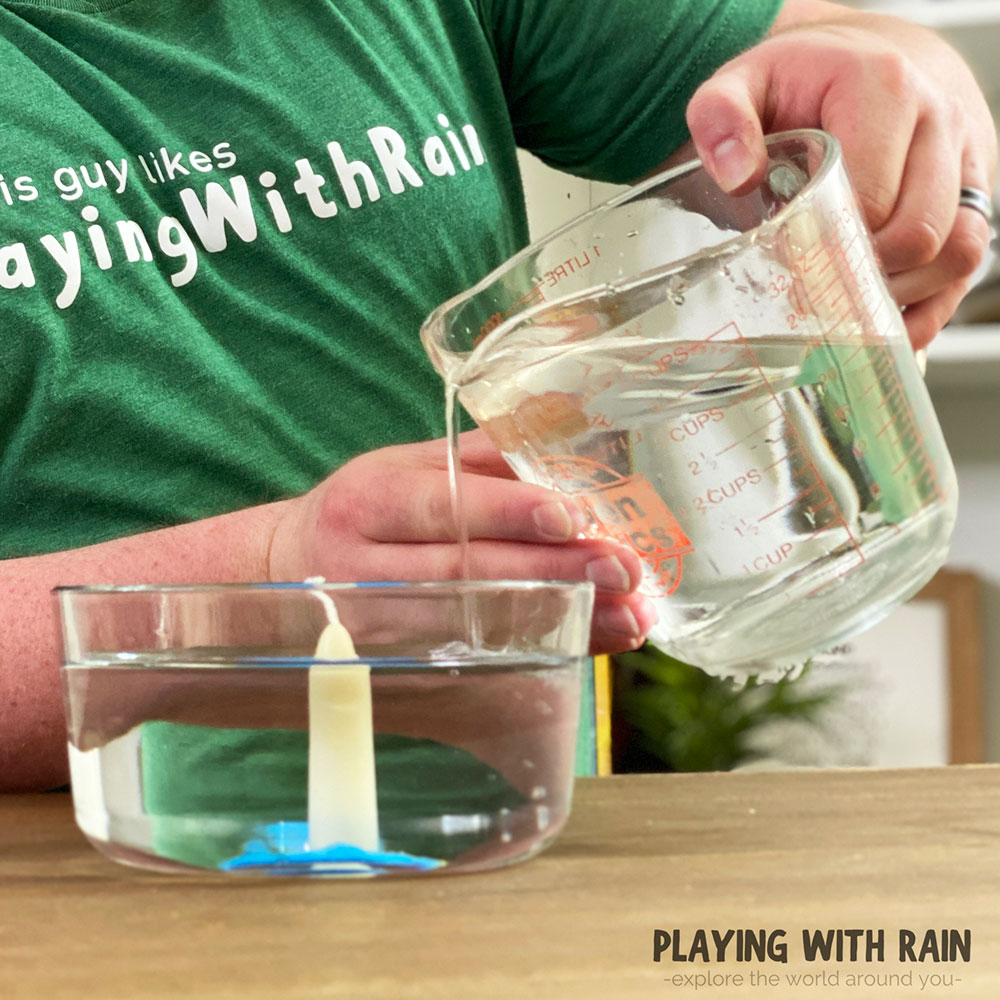 Pour water into the bowl with a candle in it