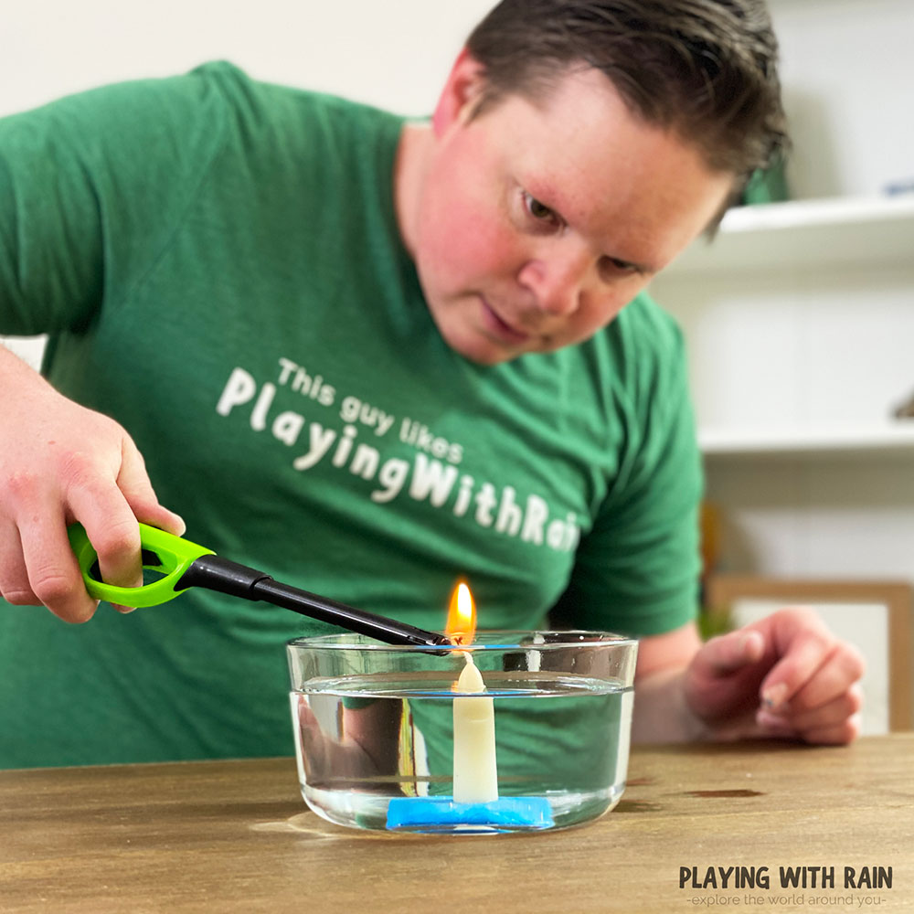 Ignite the candle in the bowl of water