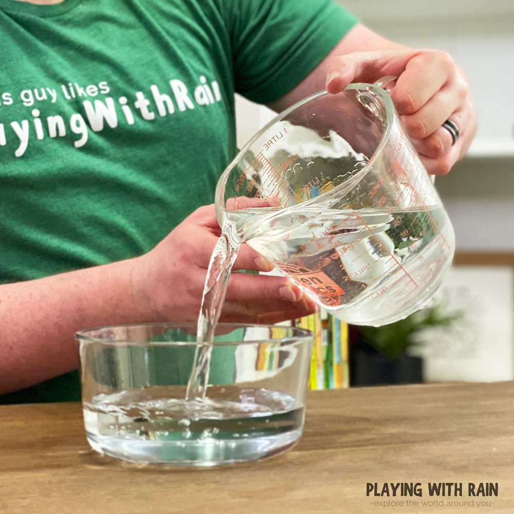 Pour water into a bowl