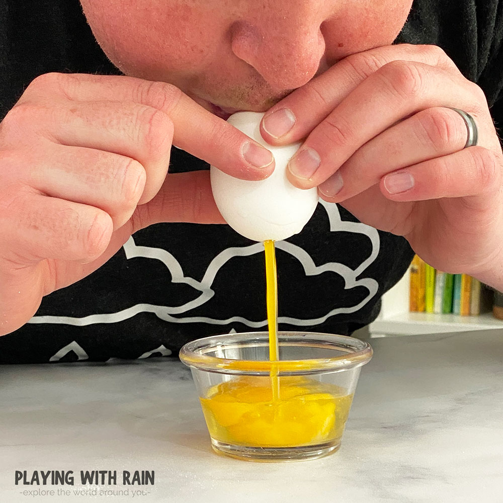 Blow the egg yolk and whites out of the eggshell