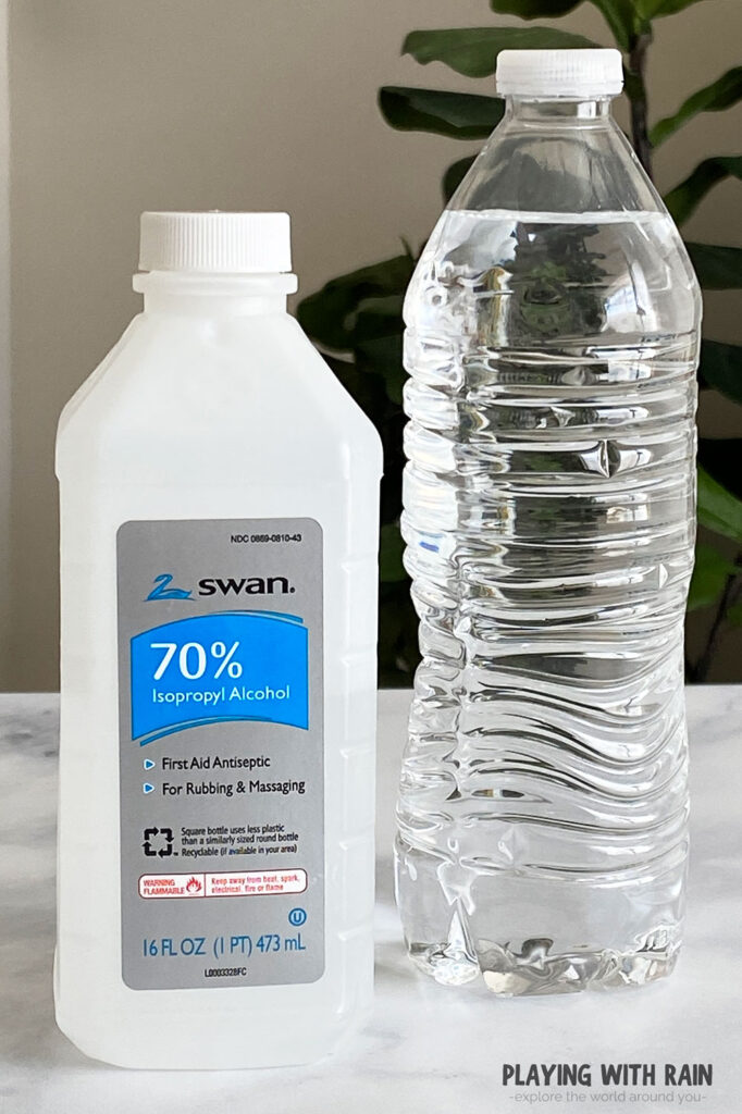 Use a water bottle and rubbing alcohol to make a cloud