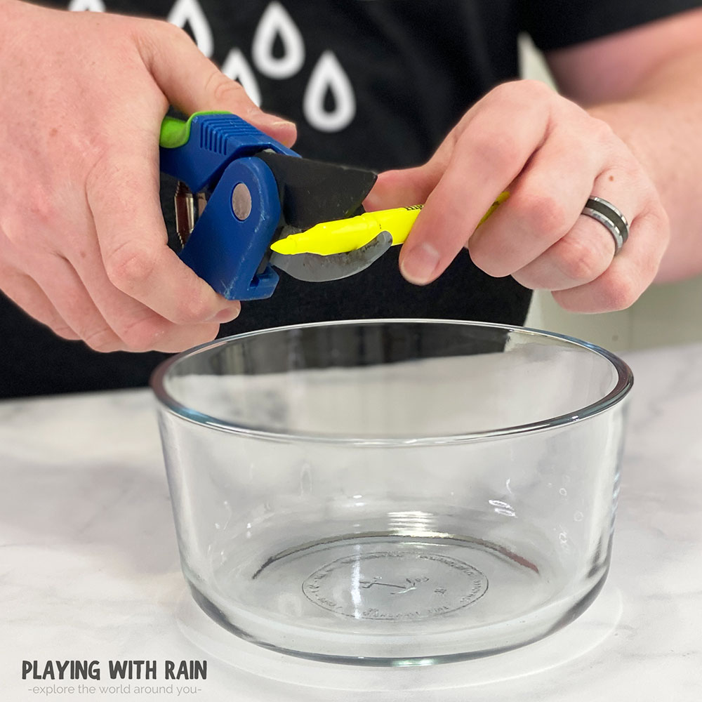 Cut a highlighter with scissors