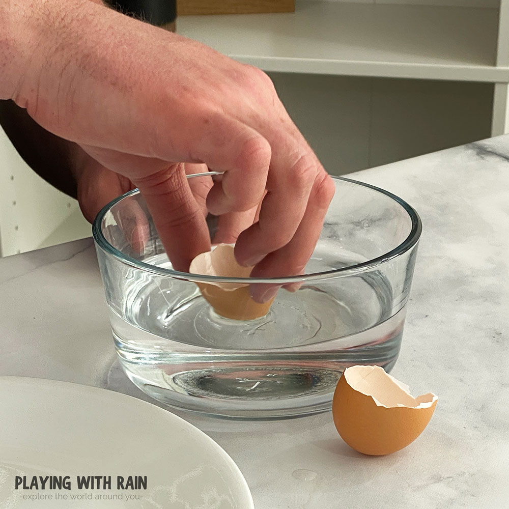 Dip the eggshell into some water